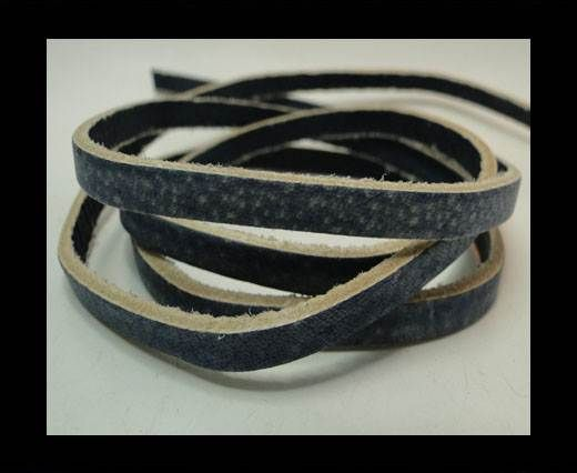Vintage Style Flat Leather - 5mm-Blue
