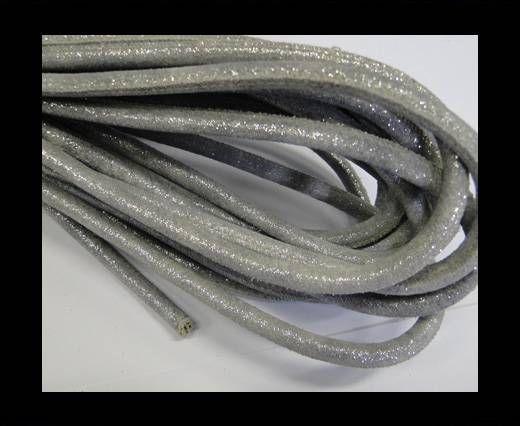 Nappaleder, rund gesäumt - 6mm - Silber