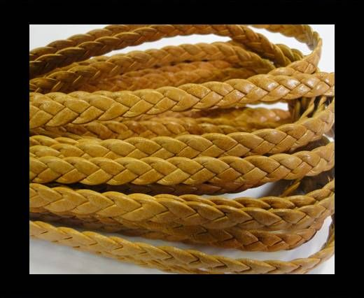 Flat Braided Nappa Leather Cords 6mm -BEIGE