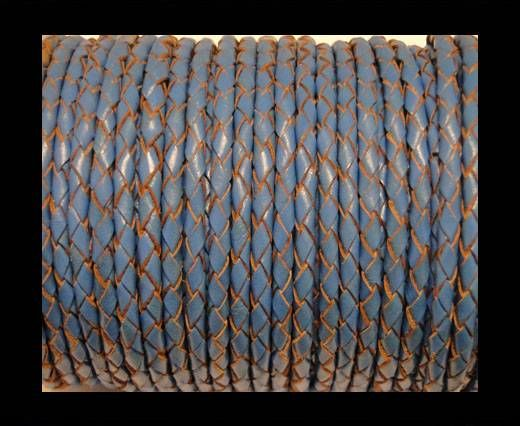 Round Braided Leather Cord SE/B/2012-Sky blue - 3mm