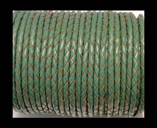 Round Braided Leather Cord SE/B/2015-Forest Green - 3mm