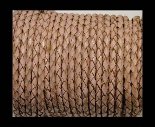 Rundes Leder, geflochten SE/B/2006-Salmon - 5mm