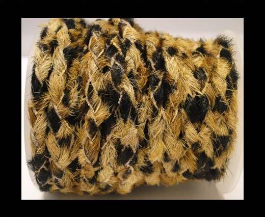 Braided Round Hair-on Leather-Leopard Skin (dark)-5mm