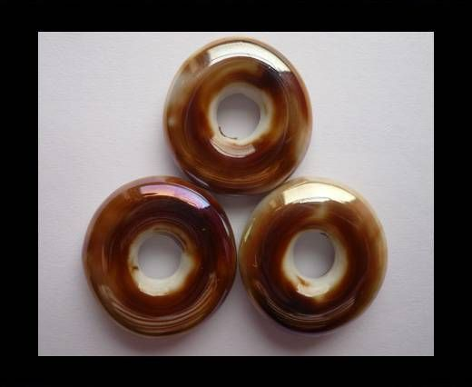 CB-Ceramic Flower-Small Donuts-Brown AB