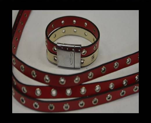 Eco Leather with Rings 10mm-Red