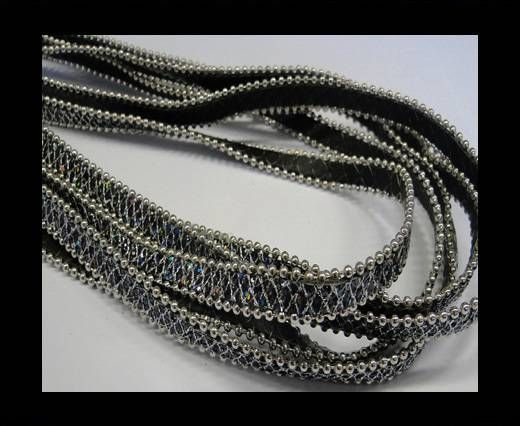 Eco leather with chains-10mm-Black 2