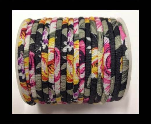 Fabric with flowers round-4mm-Black