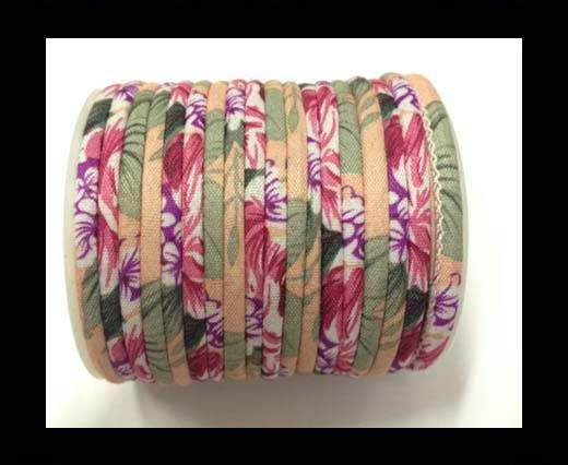 Fabric with flowers round-4mm-Pink