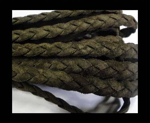 Flat Braided Nappa Leather Cords 6mm-DUSKY BROWN