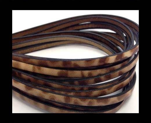 Flat Italian Leather-5mm- Leopard Tan