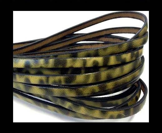 Flat Italian Leather-5mm- Leopard Verde