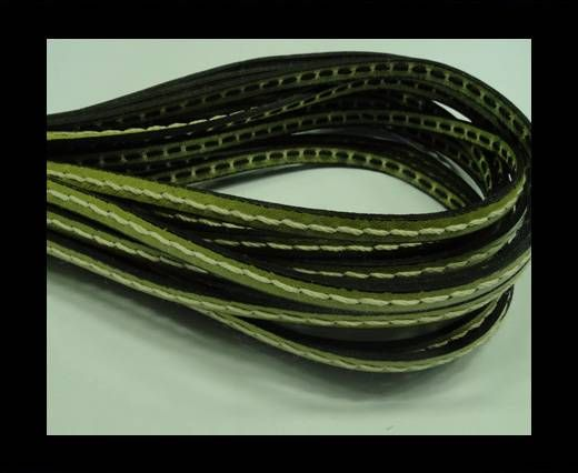 Flat Leather Cord With Thick Stitch-5mm-Green