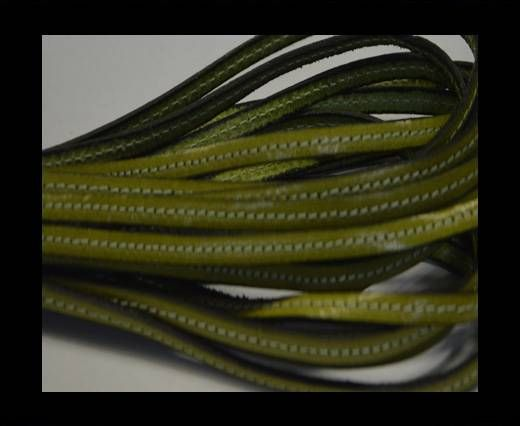 Flat leather with stitch - 5 mm - Light green