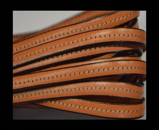 Flat leather with stitch - 5 mm - light orange