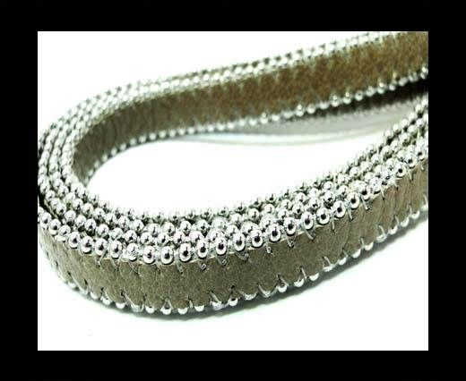 Flat Leather with Chain- Light Taupe-10mm