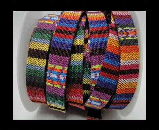 Flat multicolor Fabric cord-10mm-Color 3 B