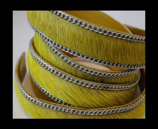 Hair-on leather with Chain - Yellow - 10mm