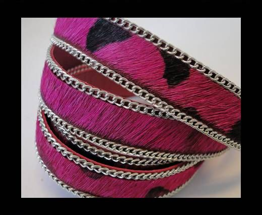 Hair-on leather with Chain - Fuchsia with Chain - 10mm