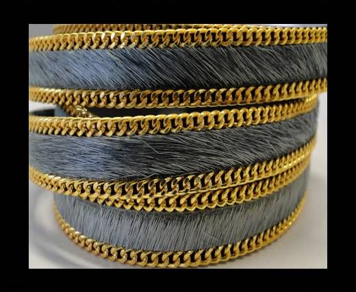 Hair-On Leather with Gold Chain 10mm-SE-Grey