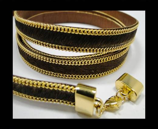 Hair-On Leather with Gold Chain- 10 mm - Brown