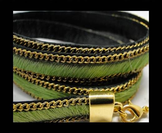 Hair-On Leather with Gold Chain-10 mm - Parrot Green