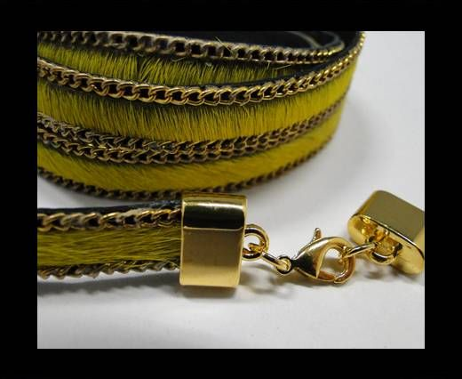 Hair-On Leather with Gold Chain-10 mm - Yellow
