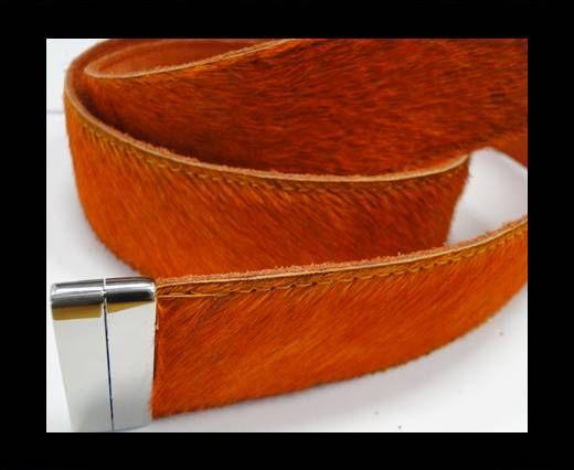 Hair-On Leather Belts-Dark Orange-40mm