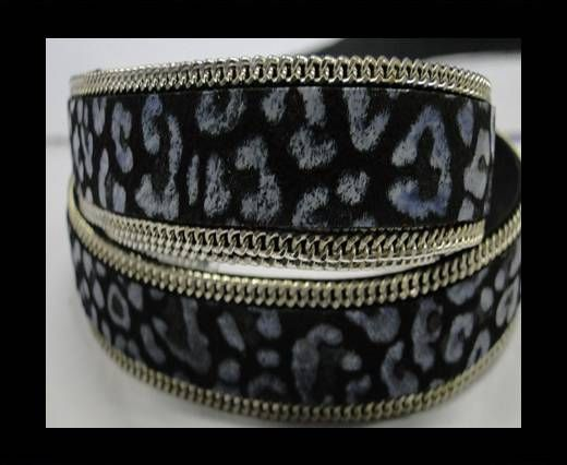 Hair-on leather with Chain - 14 mm - Black with light blue spots