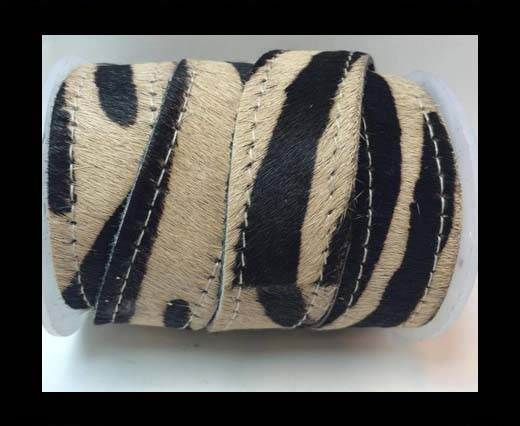 Hair-On Leather Flat-brown zebra with stitches-20mm