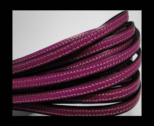 Flat leather - 5 mm - Double Stitched - Black edges - Fu