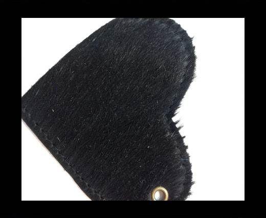 KC-Key Cord Heart Shape 8cm black hair-on