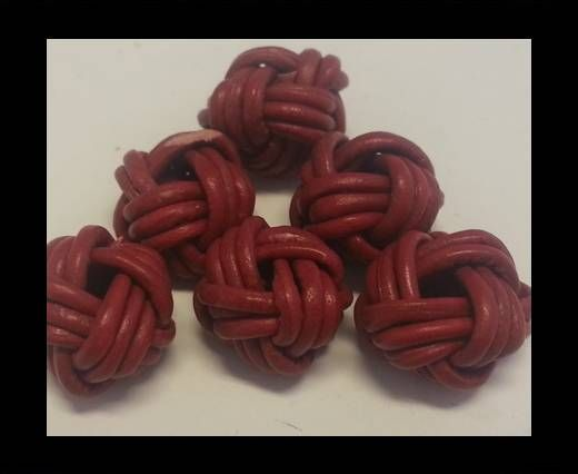 Leather Beads -8mm-Red