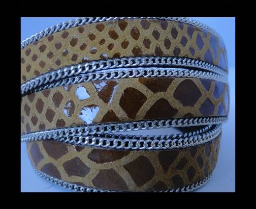 Leather with snake Print -Saddled Brown