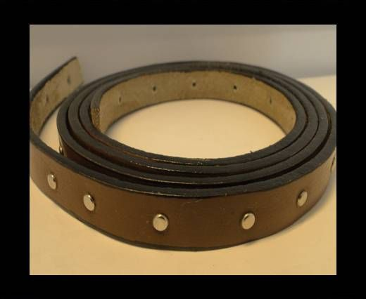 Leather with stud -10mm- Brown