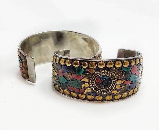 Mosaic brass cuff Style 4 - 4mm