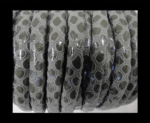 Feines Nappa Leder-4mm-Snake Style Rund-Grau