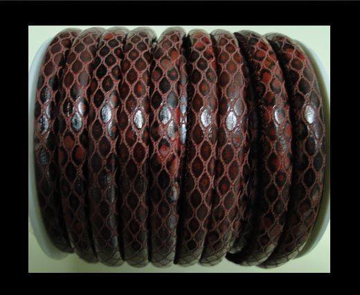 Feines Nappa Leder-4mm-Snake Style Oblong-Rot