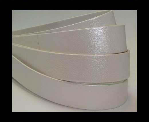 Nappaleder, flach, 20mm – White Pearl