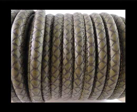 Nappa Leder-Snake-Patch-Style-6mm-Grün
