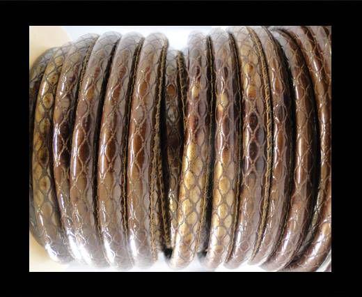 Nappa Leder-Snake-Style-6mm-Oblong Coffee Braun