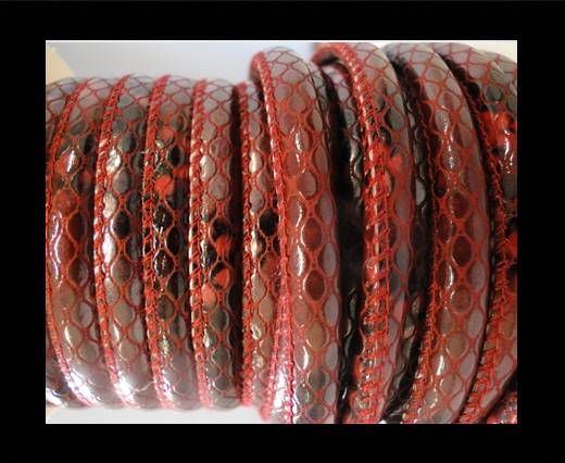 Nappa Leder-Snake-Style-4mm-Oblong Rot