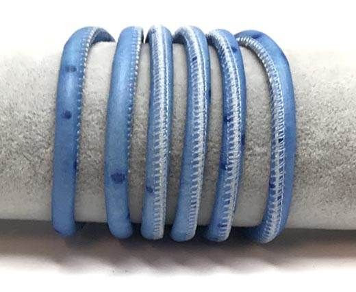 Real Round Nappa Leather cords 6mm-Ostrich style blue