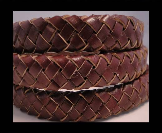 Oval Braided Leather Cord - Maroon