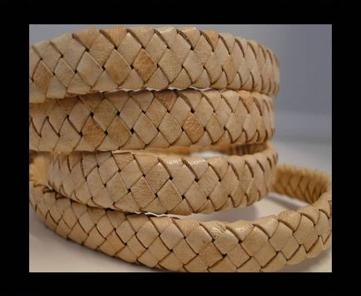 Oval Braided Leather Cord - Natural