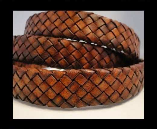 OVal Braided Leather Cord - Vintage Brown