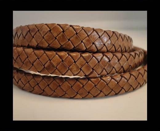 Oval Braided Leather Cord - SE-PB-10 - Walnut