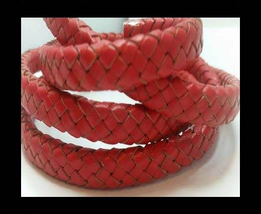 Oval Braided Leather Cord - SE B Red