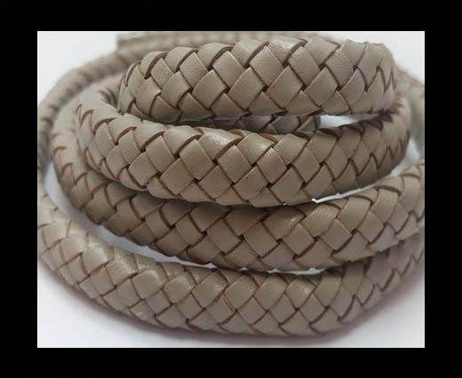 Oval Braided Leather Cord - SE Light Grey