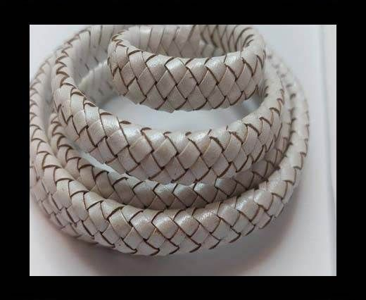 Oval Braided Leather Cord - SE M.White