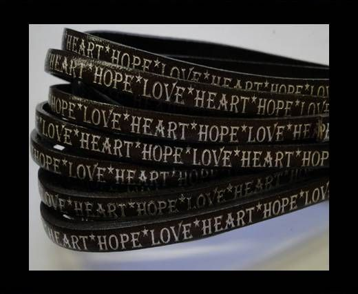 Real Flat Leather-5MM-Hope Love Heart style-Dark Brown-Silver